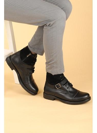 Ayakland Ayakland 02 Süet Termo Taban ıçi Kürklü Fermuarlı Erkek Bot Ayakkabı Siyah